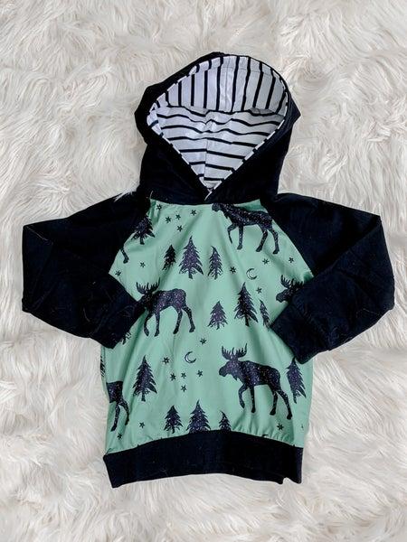 YOUTH Moose Hoodie Green & Black