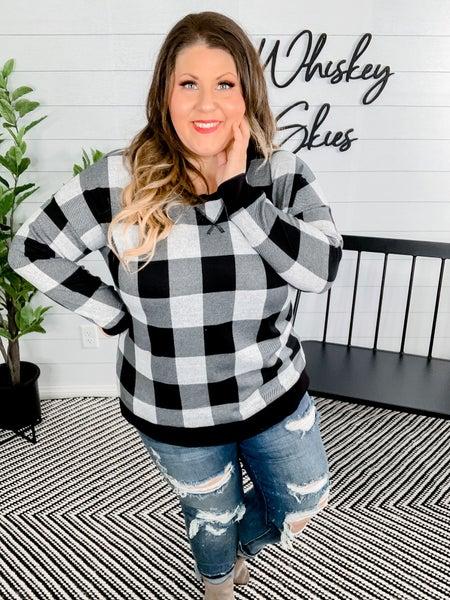 PLUS/REG Long Sleeve White/Black Plaid Sweater