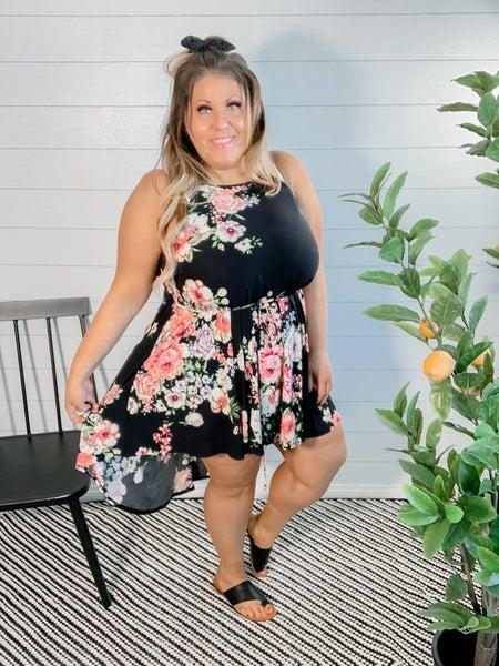 PLUS/REG Floral High Low Dress