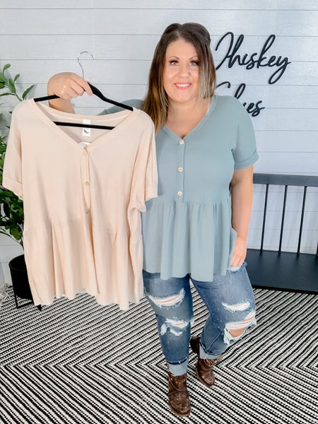 Solid Thermal Button Down Top *FINAL SALE*