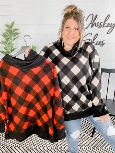 PLUS/REG Checkered Cowl Neck Knit Sweater