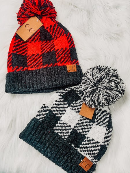 Buffalo Print Jacquard Knit Pom Beanie