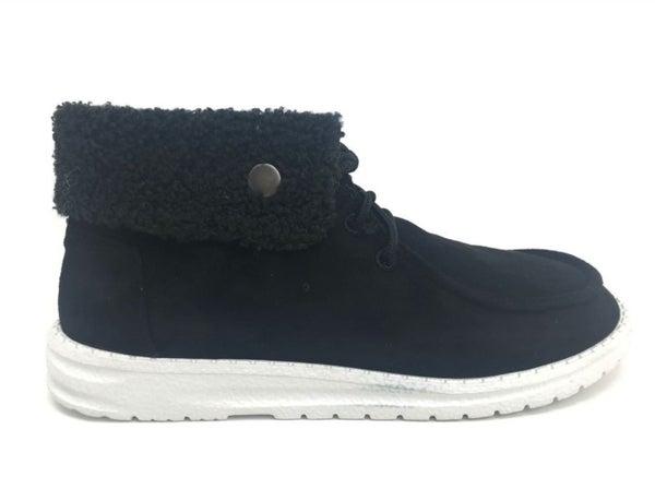 Suede Hi-Top Fuzzy Trim Sneaker