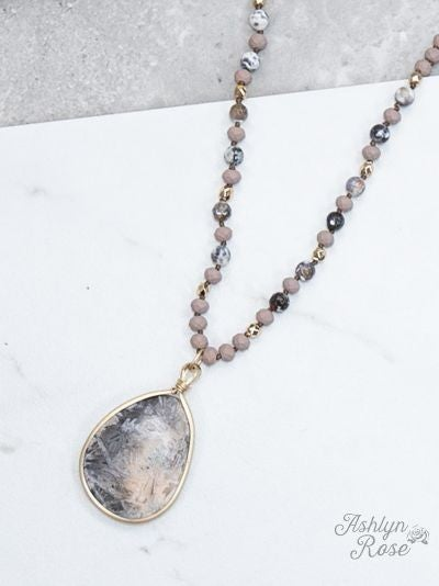 Mauve Beaded Necklace with Stone Pendant