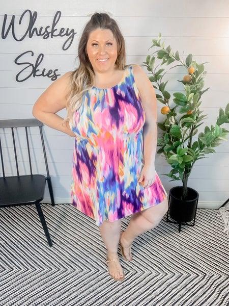 PLUS/REG Sleeveless Multi Color Dress