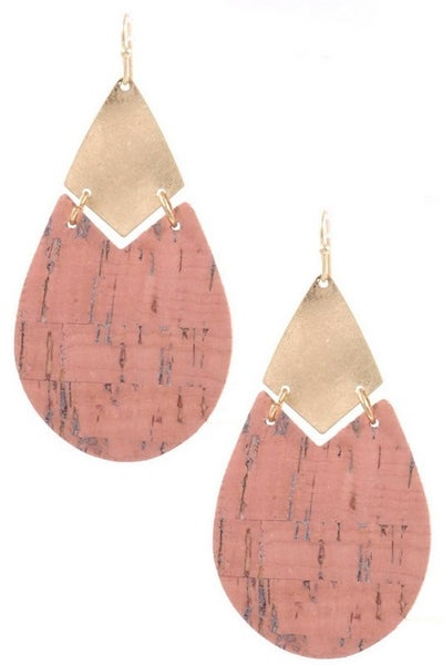 Hammered Metal Cork Drop Earrings