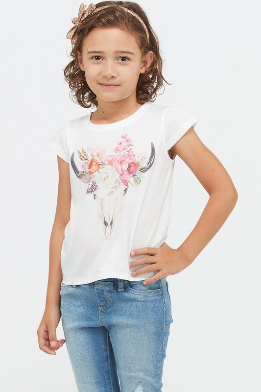 KIDS Skull Flower Print Top *FINAL SALE*