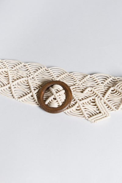 Belt with String Knotted Twisted Detail + Wood Buckle