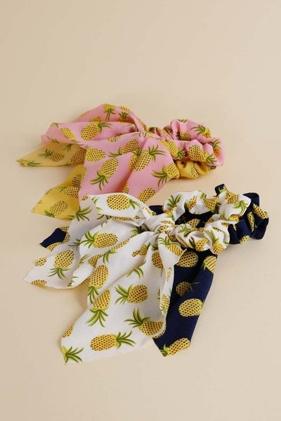 Pineapple Bow Scrunchies