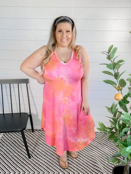 PLUS/REG Berry and Melon Tie Dye Dress