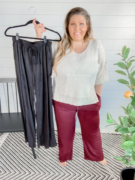 Faux Suede Baggy Pants