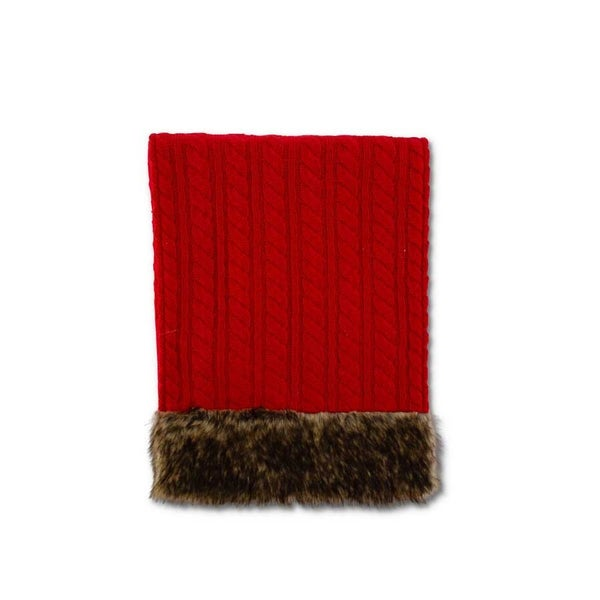 "72"" Cable Knit Runner with Fur Trim"