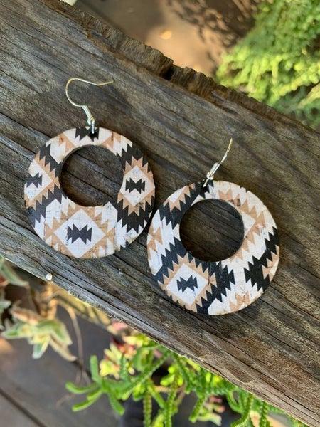 Black Tan and White Aztec Leather Hoop Earrings