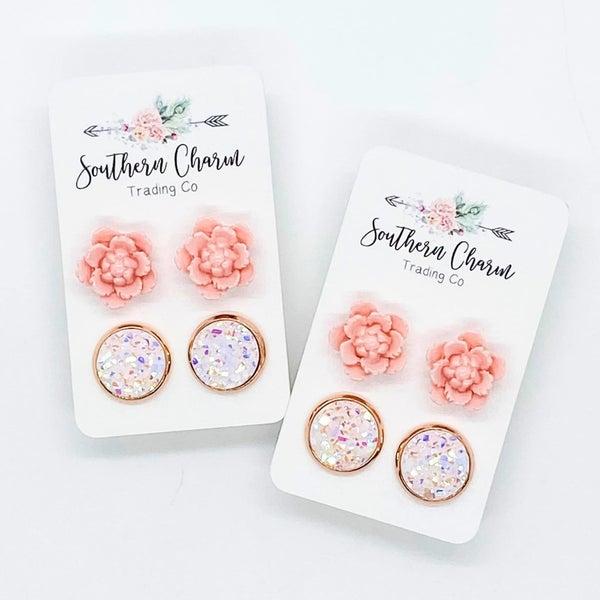 Pink Flower and White Quartz Earrings