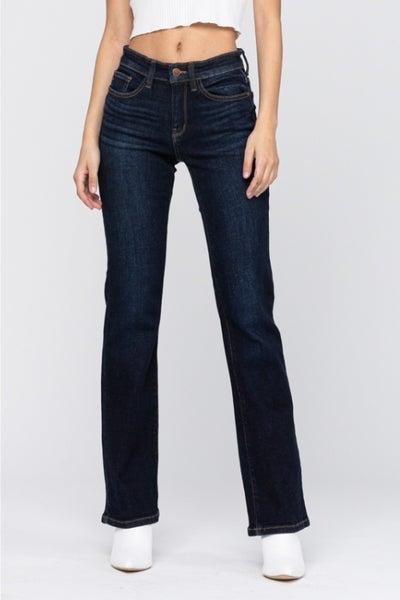 PLUS/REG Judy Blue Whiskered Dark Bootcut Jeans
