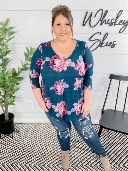 Floral 3/4 Sleeve Baby Doll Top *FINAL SALE*