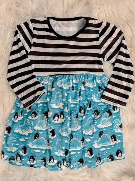 YOUTH Silly Penguins Striped Dress