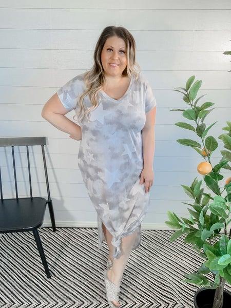 PLUS/REG Gray Star Dress