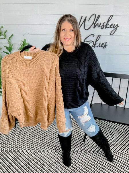 Oversize Cable Knit Bell Sleeve Sweater