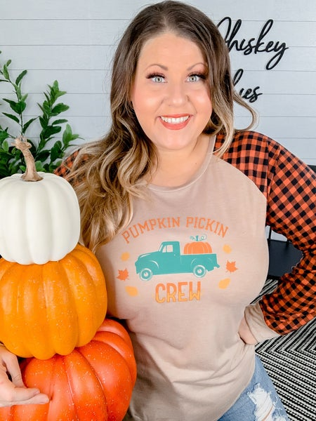 PLUS/REG Pumpkin Pickin Crew Long Sleeve Tee