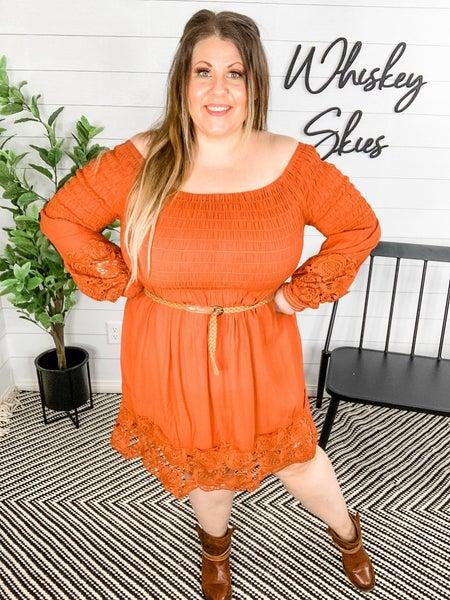 PLUS/REG Rusted Smocked Lace Dress