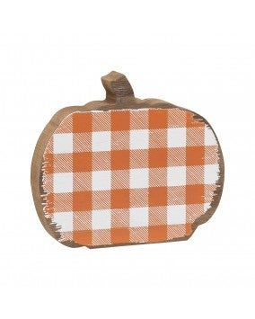 Small Orange Checkered Pumpkin Sitter