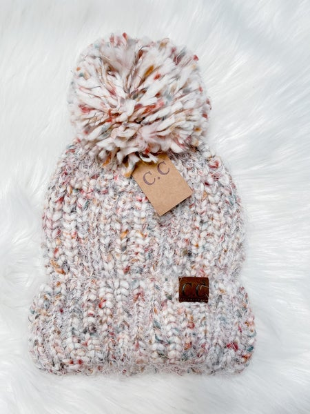 Multi Color Feather Knit Pom Beanie