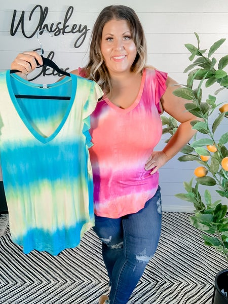 Tie Dye V Neck Sleeveless Top