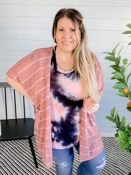 PLUS/REG Knit Mauve Kimono