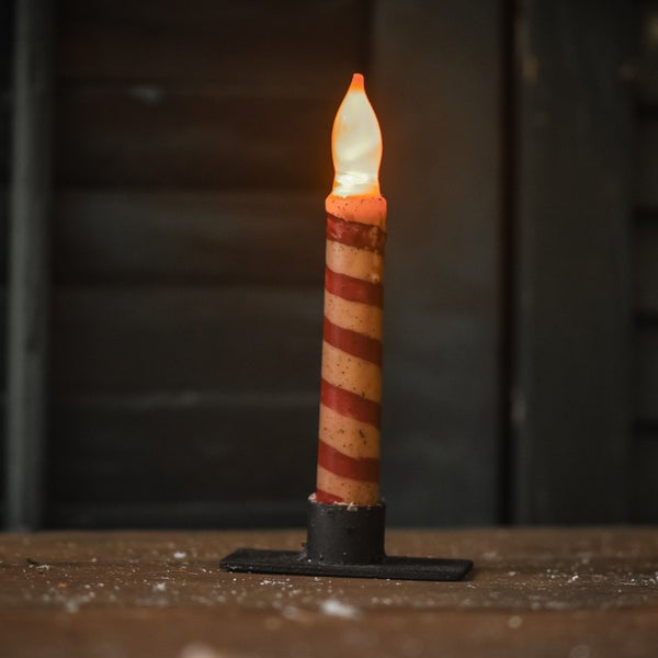 "6.5"" Candycane Flair Tip Taper Candle"