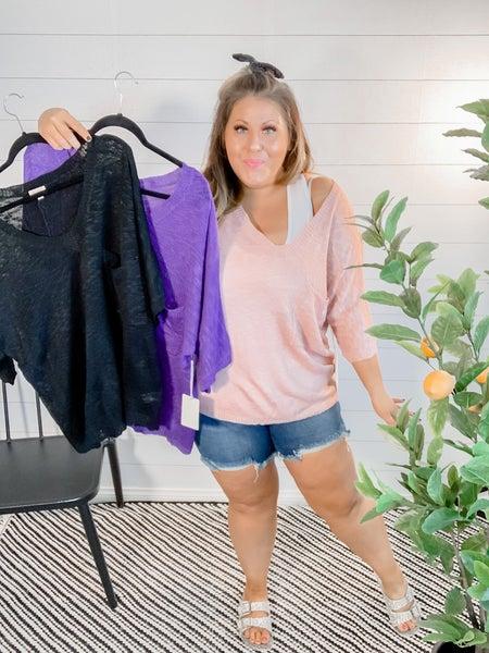 V-Neckline Loose Knit Sweater Top *FINAL SALE*