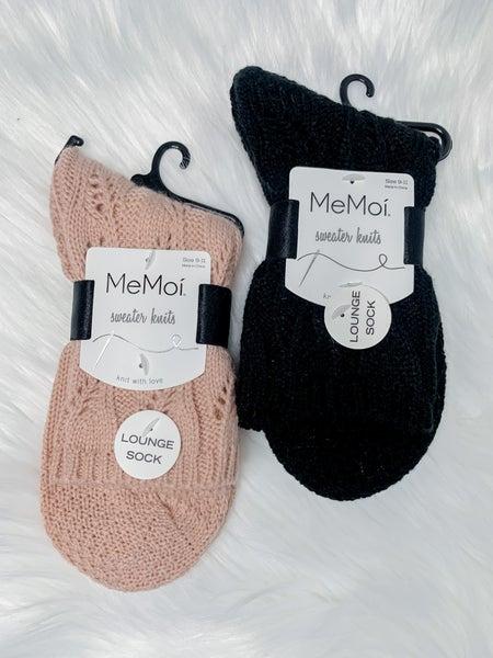 Pointelle Sweater Knit Crew Socks