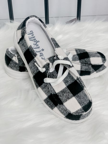 Heathered Plaid Slip On Tennis Shoes