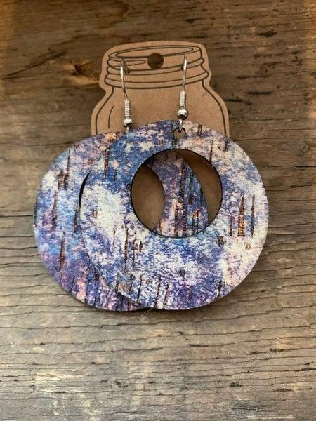Blue Splash Leather and Cork Hoop Earrings