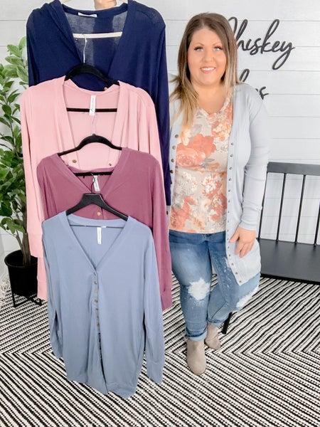 PLUS/REG Thigh-Length Snap Button Cardigan *FINAL SALE*