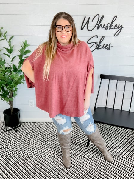 PLUS/REG :Half Sleeve Turtle Neck Solid Poncho Top