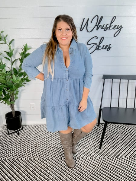 PLUS/REG 3/4 Sleeve Two Layered Shirt Dress