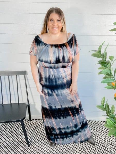 Off The Shoulder Tie Dye Maxi Dress