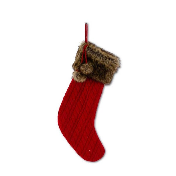"19"" Red Cable Knit Stocking with Fur"