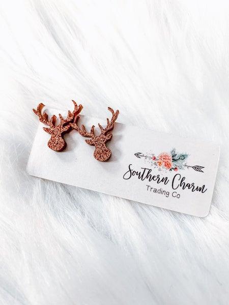 Deer Glittery Stud Earrings