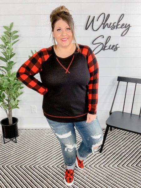 PLUS/REG Black & Red Plaid Contrasting Long Sleeve