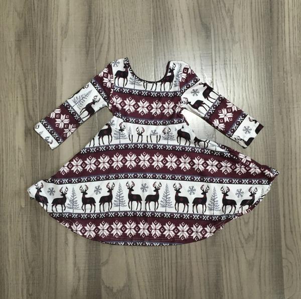 Twirl Christmas Reindeer Dress *FINAL SALE*