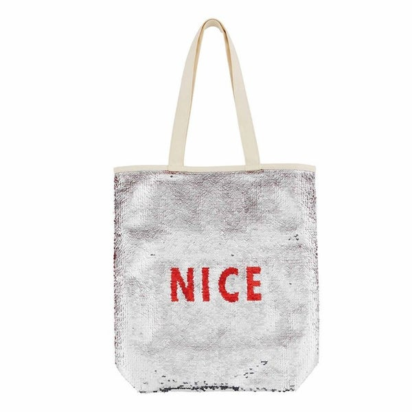 Holiday Swipe Tote - Silver