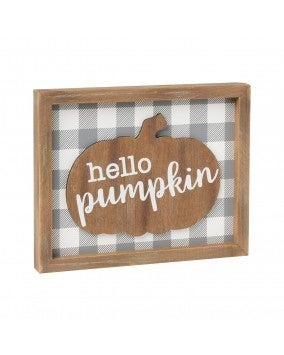 Hello Pumpkin 3D Sign