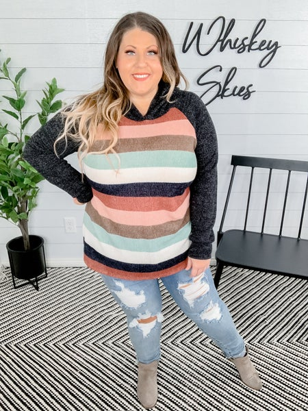 PLUS/REG Long Sleeve Striped Hoodie