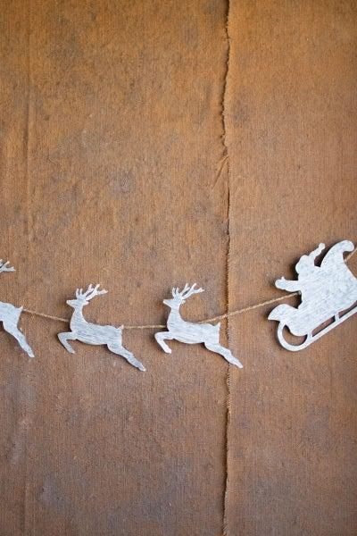 Metal Santa With Reindeer Garland