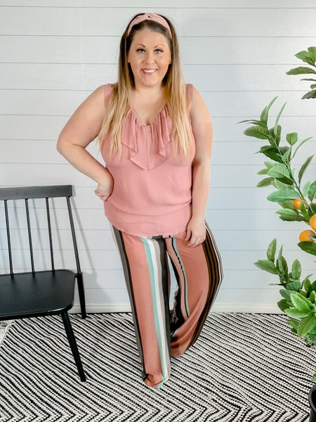 Mocha Rose Elastic Wide Leg Pants