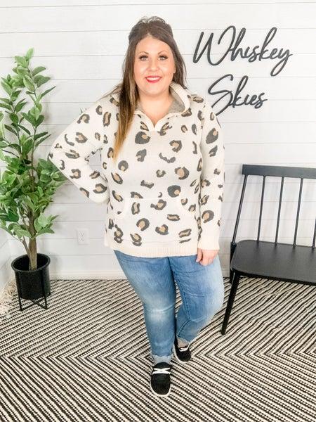 PLUS/REG Stretchy Knit Leopard Hoodie Sweatshirt
