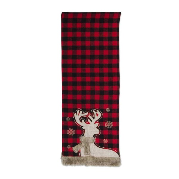 "72"" Buffalo Flannel Runner with Deer and Fur"