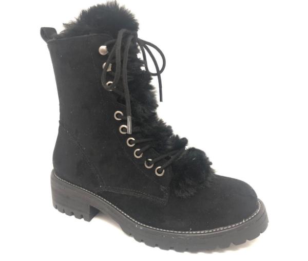 Farrah Faux Suede Combat Boot w/Fur (Black)